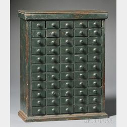 Green-painted Wood Case of Drawers