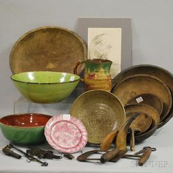 Group of Country Wood, Ceramic, Metal, and Other Items