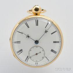 F.B. Adams & Sons 18kt Gold Open Face Lever Watch