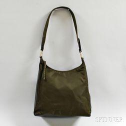 Prada Olive Green Nylon and Leather Hobo Bag