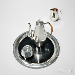 "Three-piece Reed & Barton Sterling Silver ""The Diamond"" Pattern Coffee Service with Associated Tray"