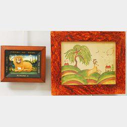 Two Framed Contemporary Folk Art Works