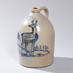 Three-gallon Stoneware Jug with Standing Deer Decoration