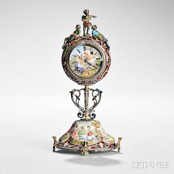 Viennese Silver and Enamel Table Clock