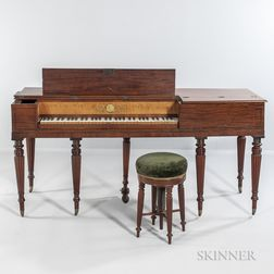 Carved Mahogany and Mahogany and Figured Maple Veneer Inlaid Square Piano and Stool
