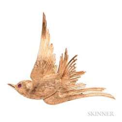 14kt Gold Bird Brooch