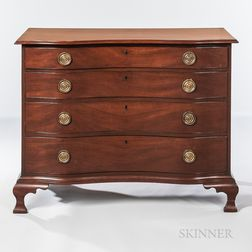 Mahogany Serpentine Chest of Four Drawers