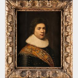 School of Michiel Jansz. van Miereveld (Flemish, 1567-1641)      Bust-length Portrait of a Man in a Ruff Collar, Armor, and Sash