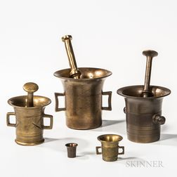Three Brass Mortar and Pestles and a Small Mortar