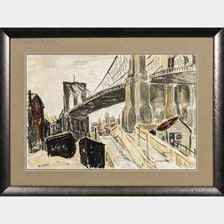Theophile Schneider (German/American, 1872-1960)      Under the Brooklyn Bridge.