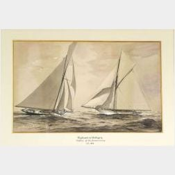 Francis H. Schell (American, 1834-1909)  Portrait of the 1893 America's Cup Contenders Vigilant