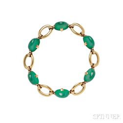 18kt Gold and Dyed Green Chalcedony Bracelet, Marzo