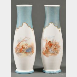 Pair of French Opaline Milk Glass and Transfer Printed Mantel Vases