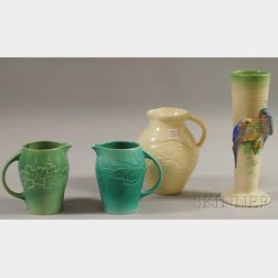 "Three Susie Cooper Glazed Art Pottery Pitchers and a Clarice Cliff ""Budgie""   Vase"