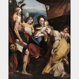 After Correggio (Italian, c. 1489-1534)      Madonna with St. Jerome