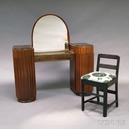 Art Deco Mirrored Vanity and Chair