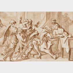 School of Luca Giordano (Italian, 1634-1705)      Tobias Healing his Father's Blindness