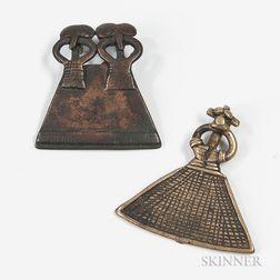 Two Senufo Cast Bronze Pendants