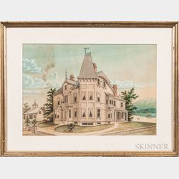 Watercolor Depiction of a House in Thomaston, Maine