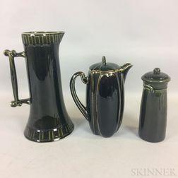 Three Dark Green Hampshire Pottery Vessels