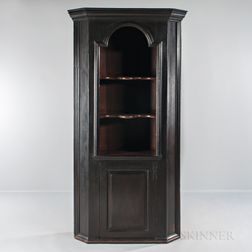 Small Early Black-painted One-piece Corner Cupboard