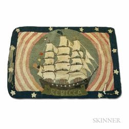 Pictorial Hooked Rug with the Ship Rebecca