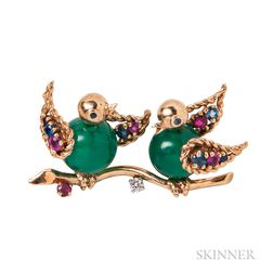 14kt Gold Gem-set Bird Brooch