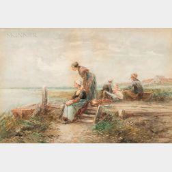 Johann Mari Henri ten Kate (Dutch, 1831-1910)      Figures by the Shore