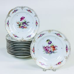 Set of Twelve Dresden Floral-decorated Porcelain Soup Plates
