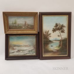 Three Framed Pastel Landscapes Attributed to John Bower