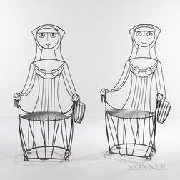 Two John Risley (1919-2001) Nun Chairs