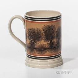 "Don Carpentier Mocha ""Tree"" and Slip-decorated Quart Mug"