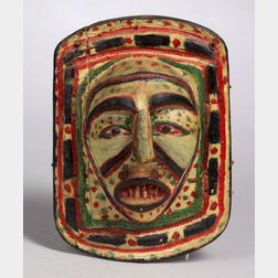 Late Northwest Coast Polychrome Carved Wood Frontlet
