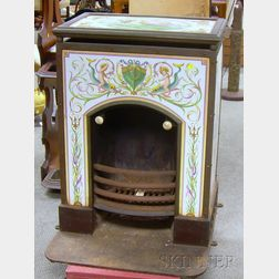 Pascall Atkey & Son Brass, Iron, and Hand-painted Venetian-style Decorated Ceramic   Tile Paneled Ship's Stove