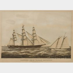 """Nathaniel Currier, publisher (American, 1813-1888)      CLIPPER SHIP """"OCEAN EXPRESS.,"""""""