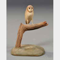 Miniature Carved and Painted Barn Owl Figure