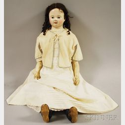 Large French-type Papier-mache Shoulder Head Doll