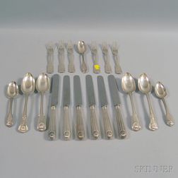 Small Group of Shell-handled Silver Flatware