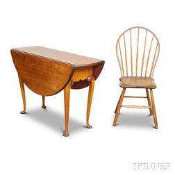 Queen Anne Maple Drop-leaf Table and a Bamboo-turned Bow-back Windsor Side Chair