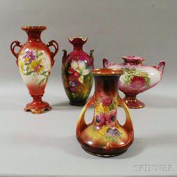 Four Royal Bonn Floral-decorated Ceramic Vases