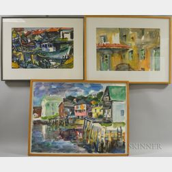 Lawrence Anderson (American, 1906-1994)      Three Watercolors of Harbor and Architectural Views