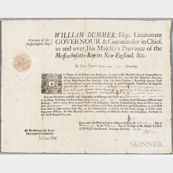 Dummer, William (1677-1761) Military Commission Signed, 1 February 1727.