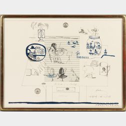 Saul Steinberg (American, 1914-1999)      Music and China  , from the Portfolio Six Drawing Tables