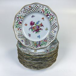 Set of Twelve Schumann Floral-decorated and Reticulated Porcelain Dinner Plates