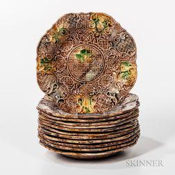 Twelve Don Carpentier Molded Dot, Diaper, and Basketweave Pattern Tortoiseshell-glazed Fruit/Serving Plates