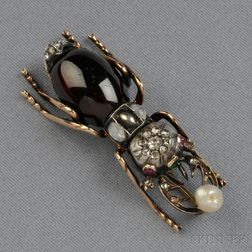 Garnet and Diamond Insect Brooch