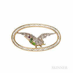 Edwardian Bailey, Banks & Biddle Demantoid Garnet and Diamond Bird Brooch