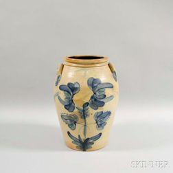 Large Cobalt Floral-decorated Stoneware Jar