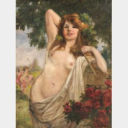 Richard Geiger (Austrian, 1870-1945)      Nymph with Red Roses