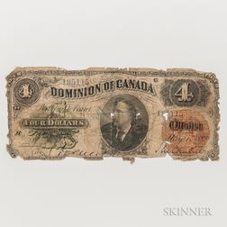 1882 Dominion of Canada $4 Note